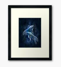 fish, smoke, ghost, abstract, colorful, waves, white, neon, fractal, psychedelic, art, wild, black Framed Print