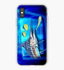 Vinilo o funda para iPhone Marlin a rayas y peces con delfines