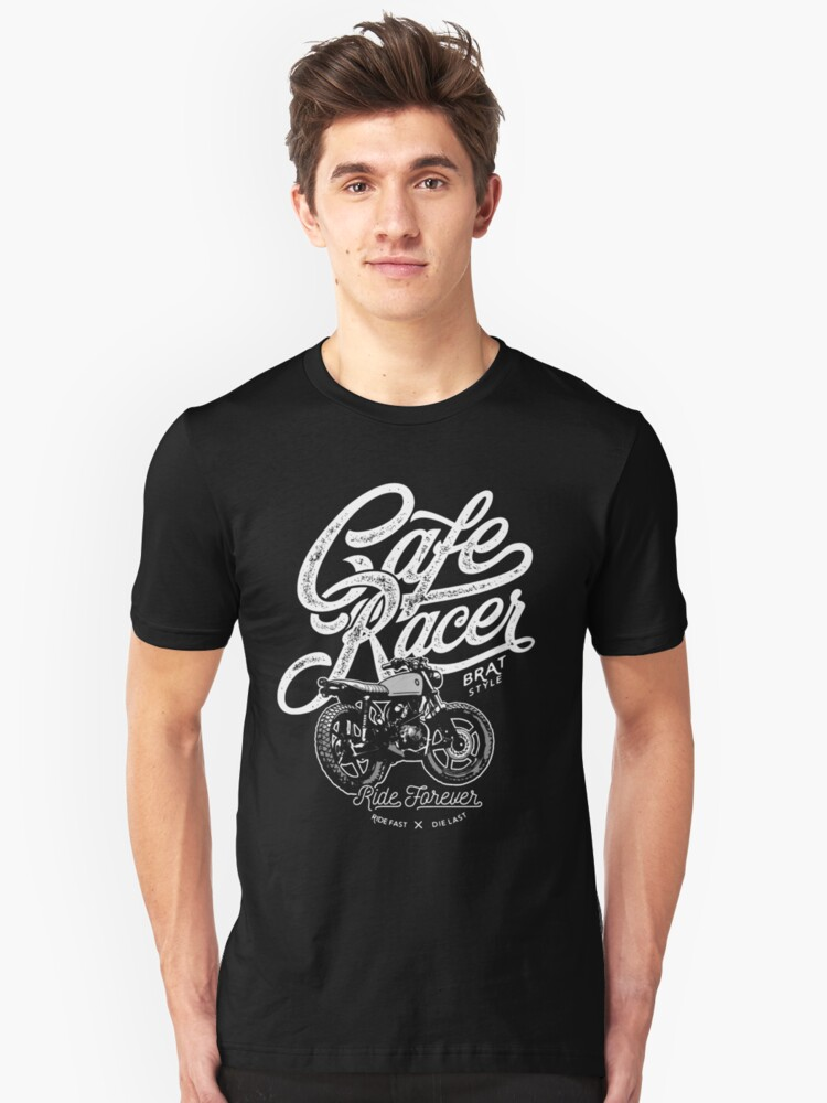 Cafe Racer, Motorcycle, Ride Forever Unisex T-Shirt Front