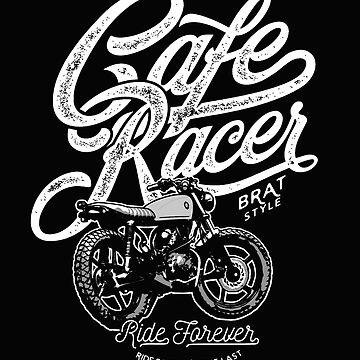 Cafe Racer, Motorcycle, Ride Forever by GarnetLeslie