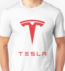 Tesla Logo Red Unisex T-Shirt