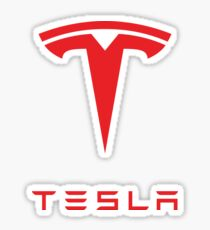 Tesla Logo Red Sticker