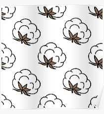 cotton seamless doodle pattern Poster