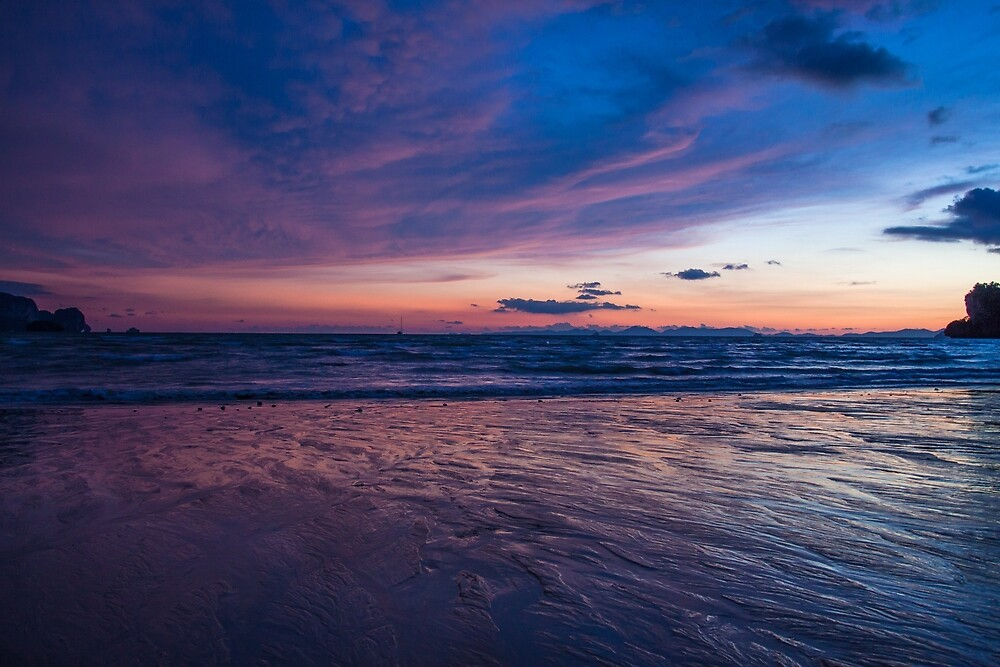 Purple sunset at Railay Beach by Geert Packet