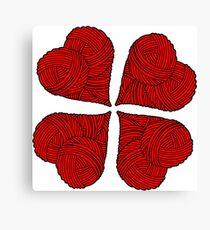 Yarn heart pattern Canvas Print