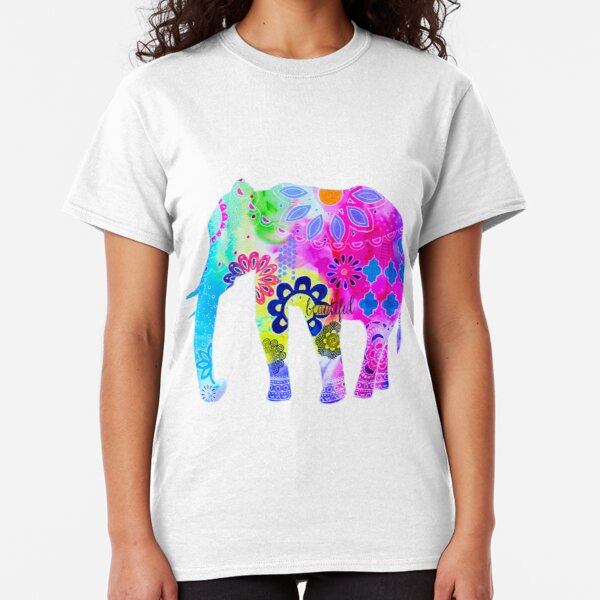 Colorful Elephant Mixed Media Painting Classic T-Shirt