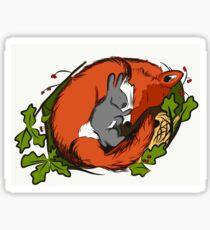 Sleeping Fox and Bunny Sticker