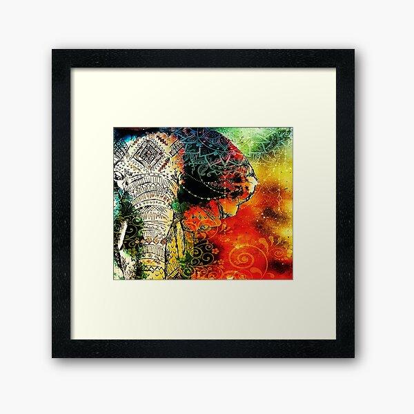 Mandala Indian Elephant / Zen Yoga Elephant Mandala Framed Art Print