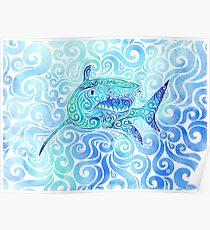 Swirly Shark Poster