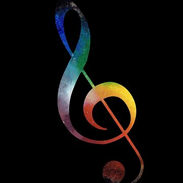 Rainbow Space Treble Clef by riotrainbows