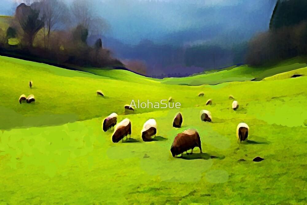 Grazing Sheep by AlohaSue