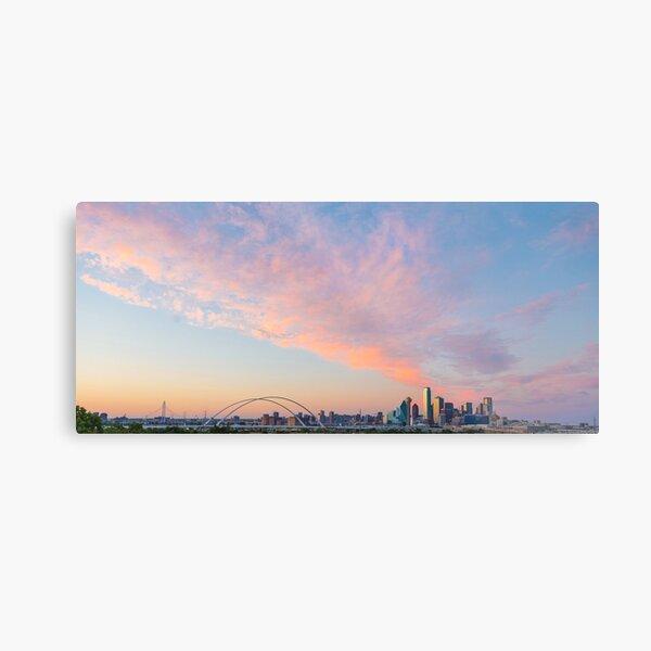 Fiery Pink Dallas Skyline Metal Print