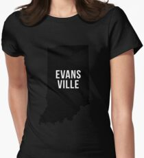 Evansville, Indiana Silhouette Womens Fitted T-Shirt