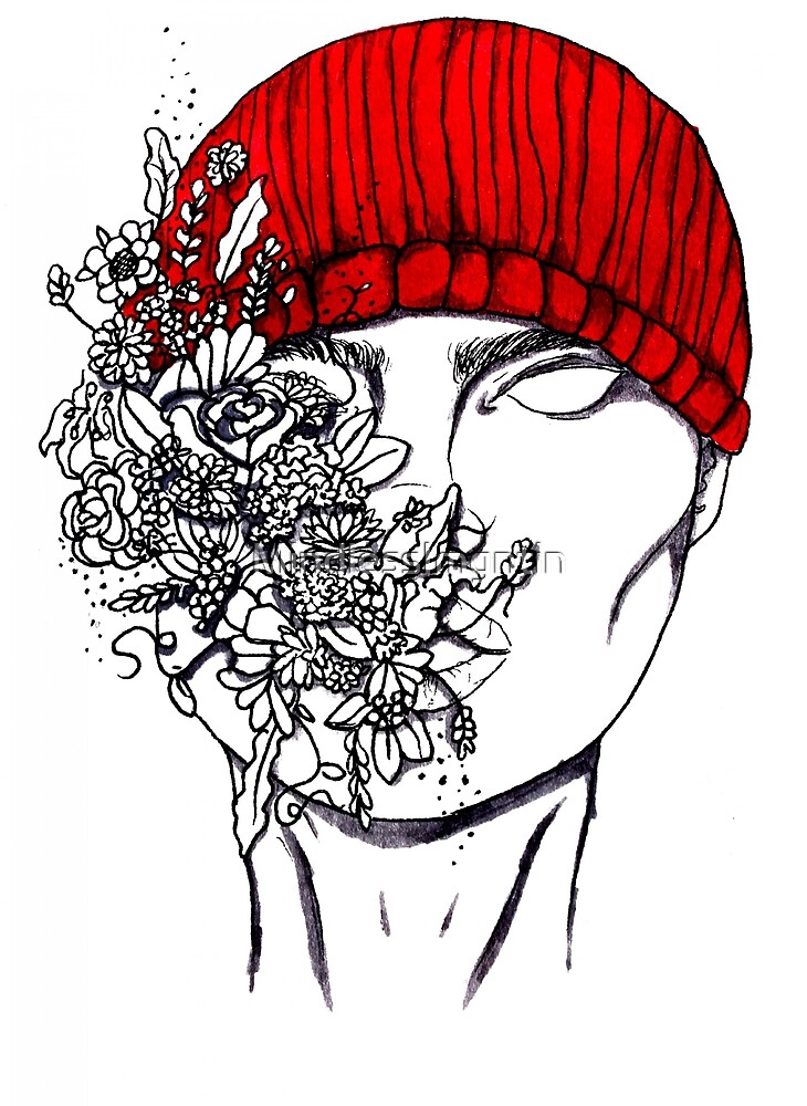 Red beanie by MindlessImgntin