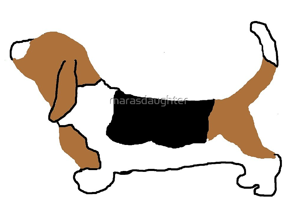 basset hound color silhouette by marasdaughter
