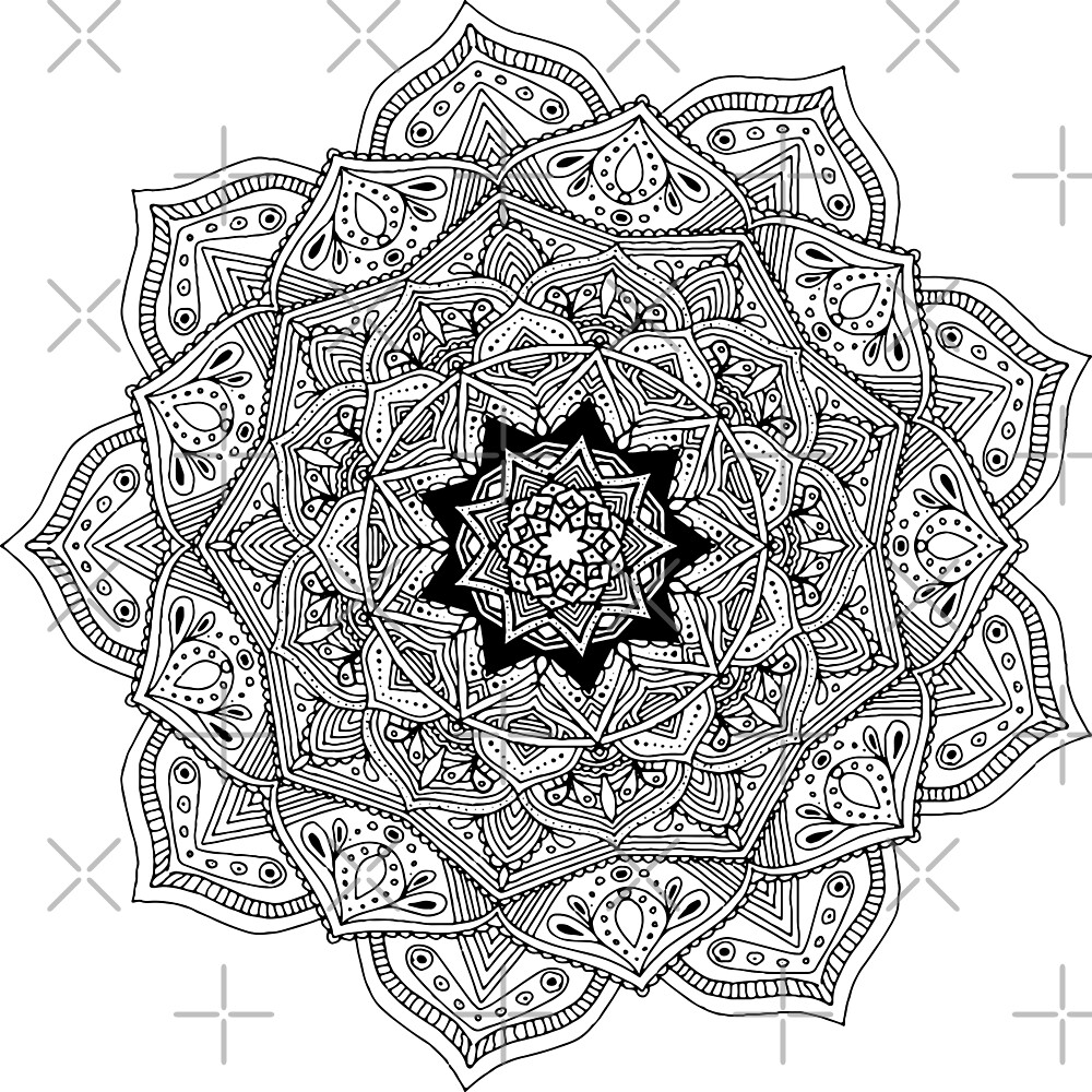 Black and Gray Hippie mandala by Jacob Thomas