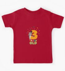 Three Years third Birthday Party Cat Rdd8s Kids Tee