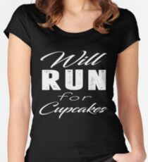 Will Run For Cupcakes T-Shirt Women's Fitted Scoop T-Shirt