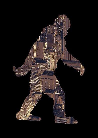 A Sasquatch Silhouette in The City Night by Garaga
