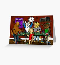 Dogs Playing Pong Greeting Card