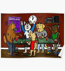 Dogs Playing Pong Poster