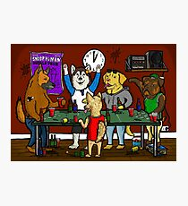 Dogs Playing Pong Photographic Print