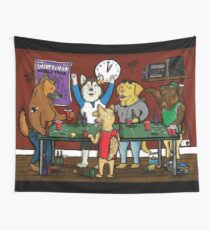 Dogs Playing Pong Wall Tapestry