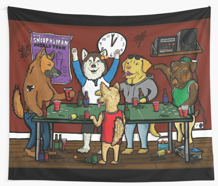 Dogs Playing Pong by LEWDLES
