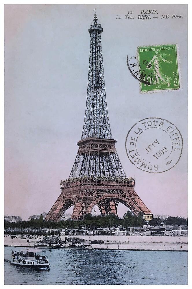 1909 Paris Eiffel Tower Colorized Postcard by retrographics