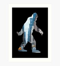 A Sasquatch Silhouette in New York City Art Print