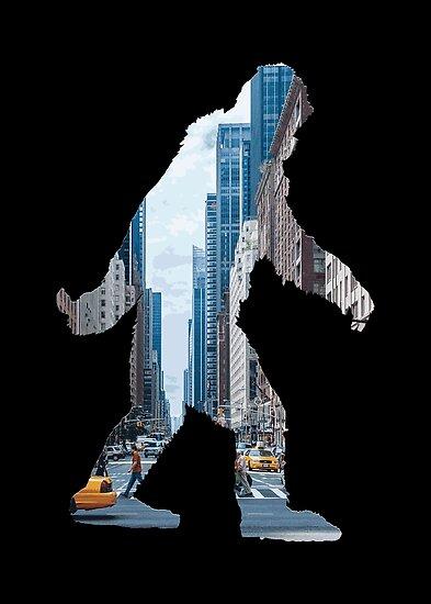 A Sasquatch Silhouette in New York City by Garaga