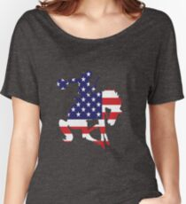 Patriotic Rodeo Bronco American Flag Women's Relaxed Fit T-Shirt