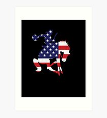 Patriotic Rodeo Bronco American Flag Art Print