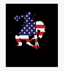 Patriotic Rodeo Bronco American Flag Photographic Print