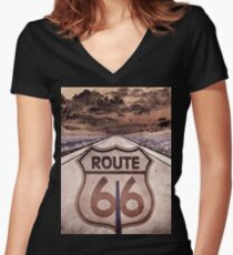 Trippin On 66 2 Women's Fitted V-Neck T-Shirt