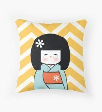 Blue Kokeshi on Chevron Pattern Throw Pillow