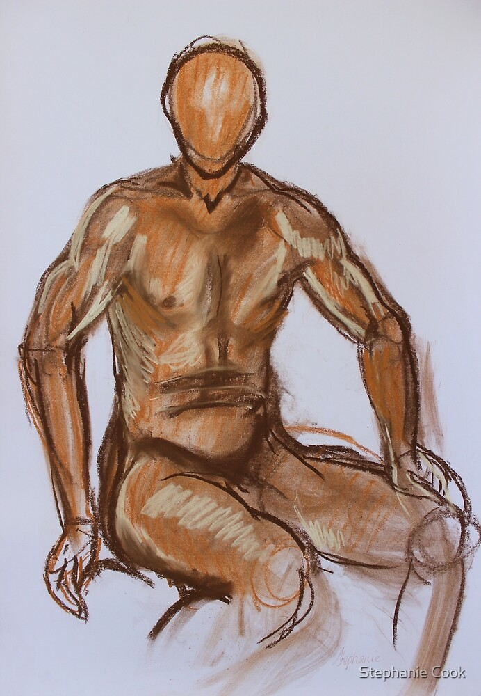 Nude Male faceless IV Pastel by Stephanie Cook