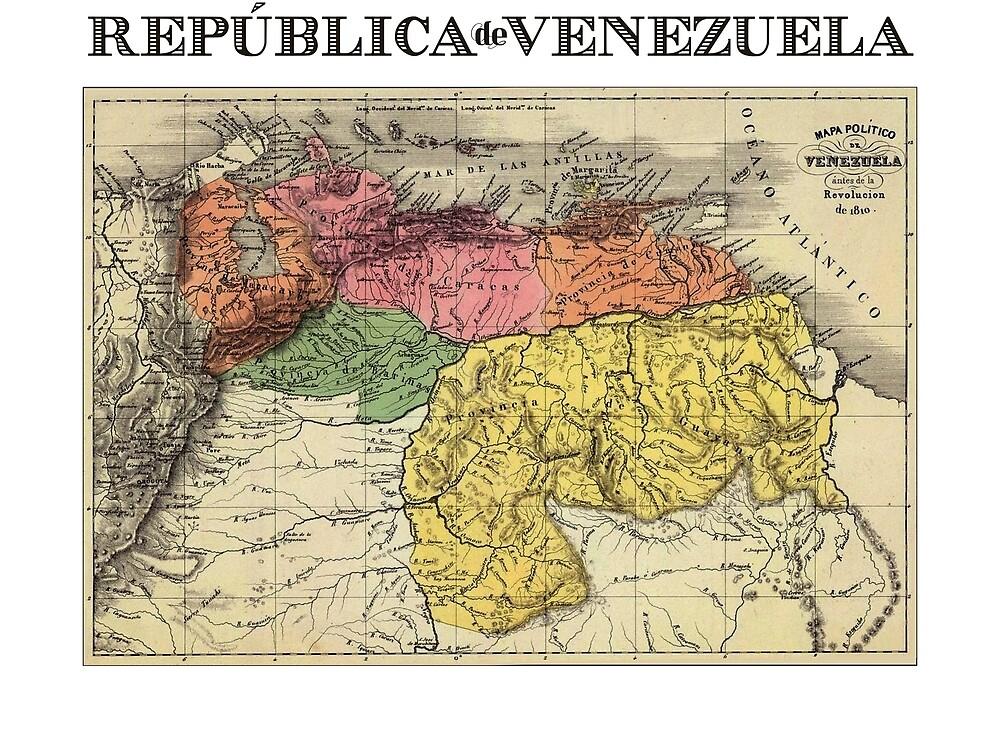VENEZUELA Map Vintage by J Y