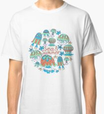 A pattern of fancy bizarre sea creatures.  Jellyfish, starfish. Style Doodle. Vector illustration. Classic T-Shirt