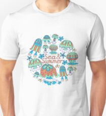 A pattern of fancy bizarre sea creatures.  Jellyfish, starfish. Style Doodle. Vector illustration. Unisex T-Shirt