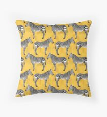 Zebra pattern with yellow background Throw Pillow