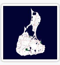 Custom Map Print of Block Island Sticker