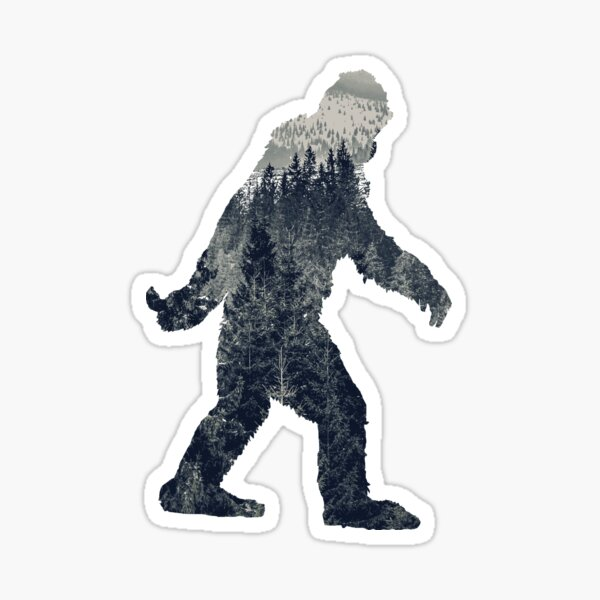 A Sasquatch Silhouette in The North Sticker