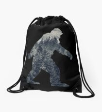 A Sasquatch Silhouette in The North Drawstring Bag