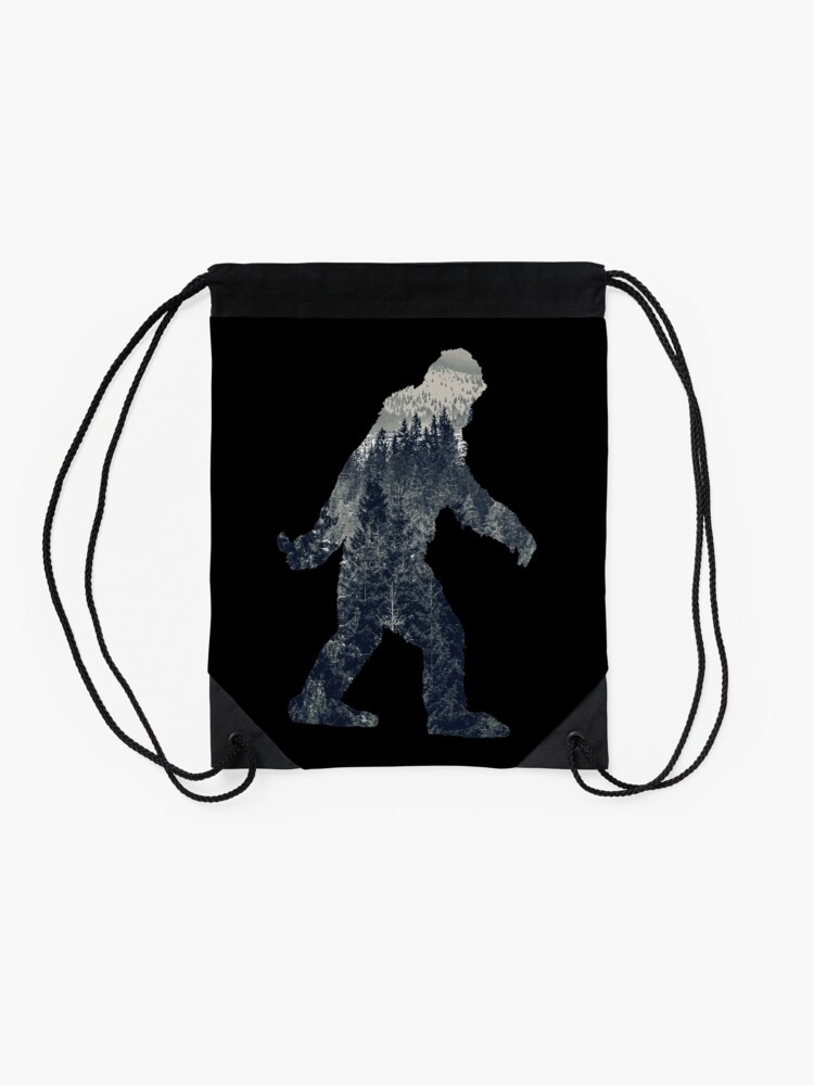 Alternate view of A Sasquatch Silhouette in The North Drawstring Bag