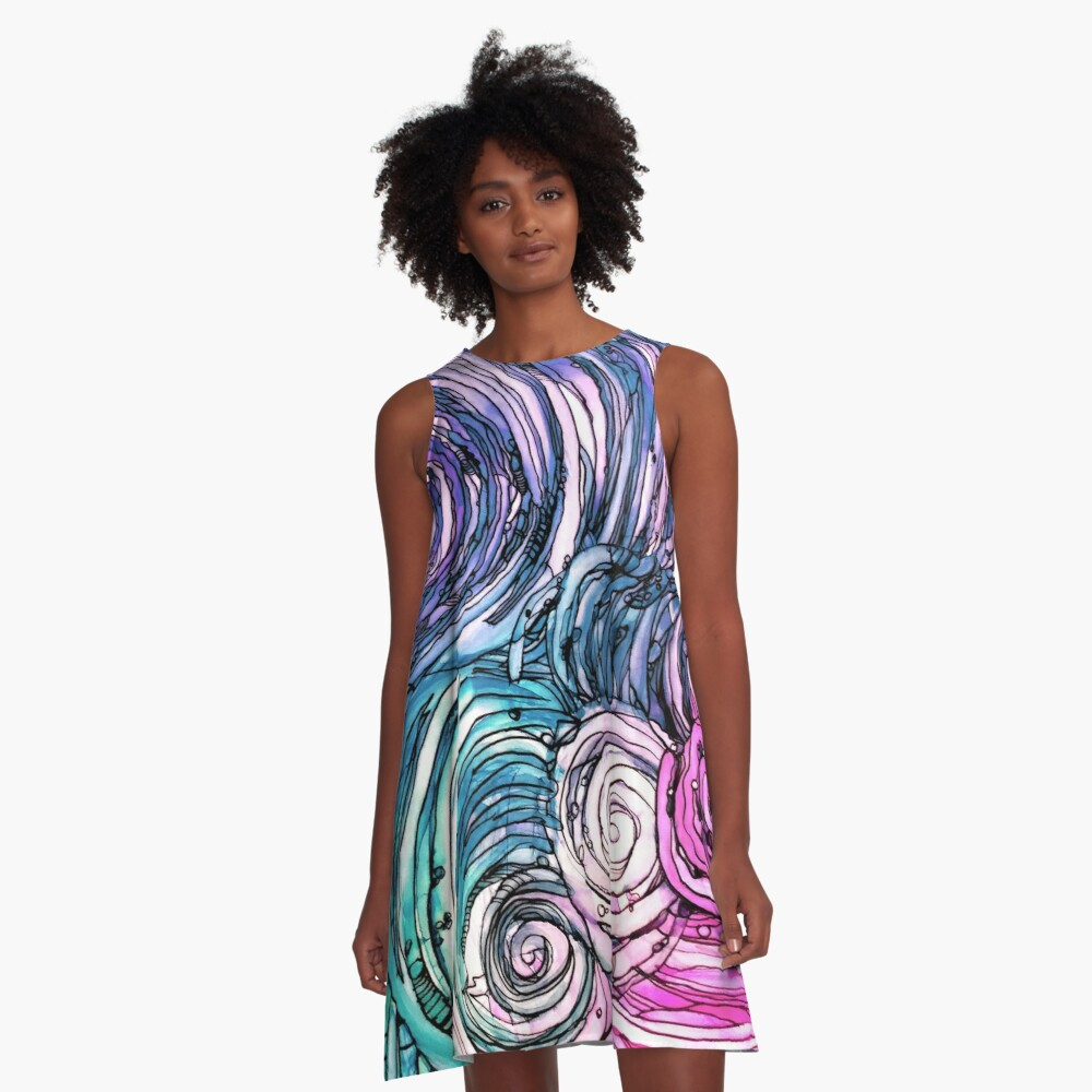 pen and ink, wild and free just like the sea-alcohol ink A-Line Dress Front