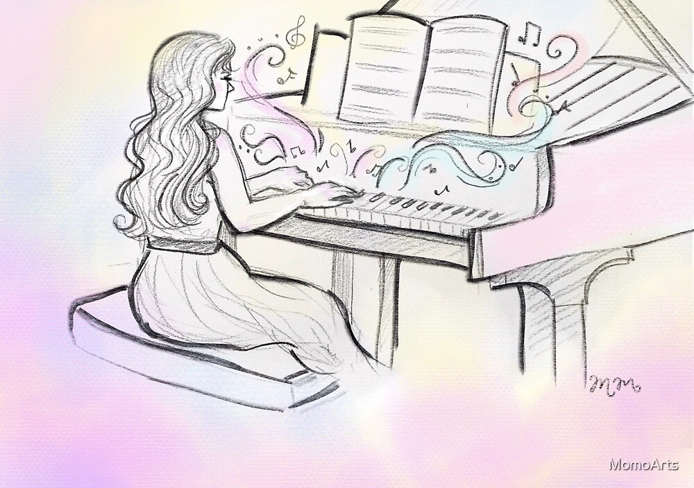 Dreamy Piano Girl by Maureen McAfee