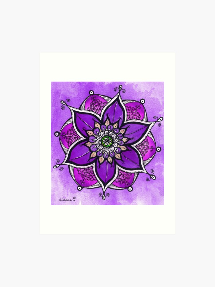 Purple Mandala Painting Mandala Wall Art Yoga Gift Art Print