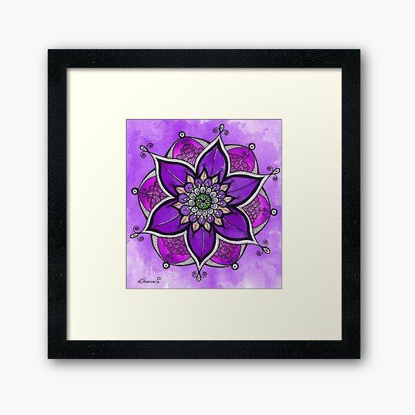 Purple mandala painting, mandala wall art, yoga gift  Framed Art Print