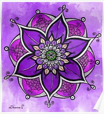 Purple mandala painting, mandala wall art, yoga gift  Poster